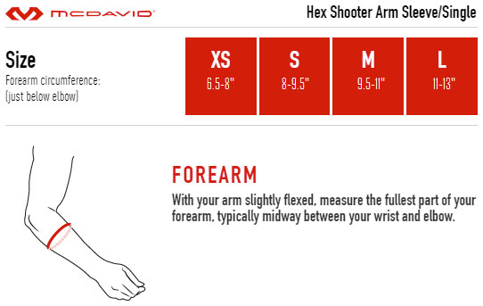 McDavid HEX Shooter Arm Sleeve Sizing Guide