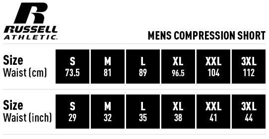 Russell Athletic Mens Compression Short Sizing Guide