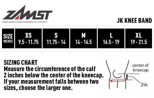 Zamst JK Knee Band Sizing Guide
