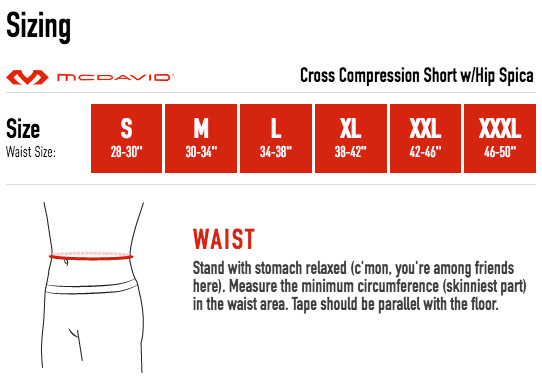 McDavid Cross Compression Short Sizing Guide